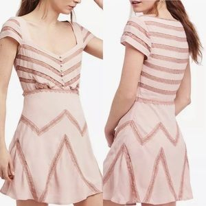 NWT FREE PEOPLE Toasted Mink Elle Lace Mini Dress